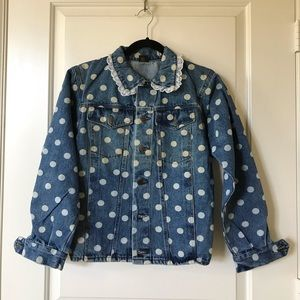Vintage polka dot denim jacket, size 14